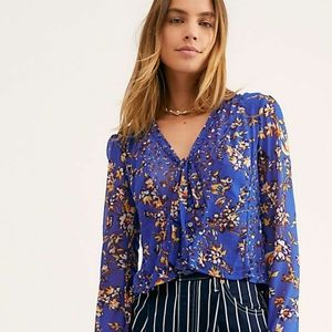 Free People Blue Casablanca Top Size XS NWT